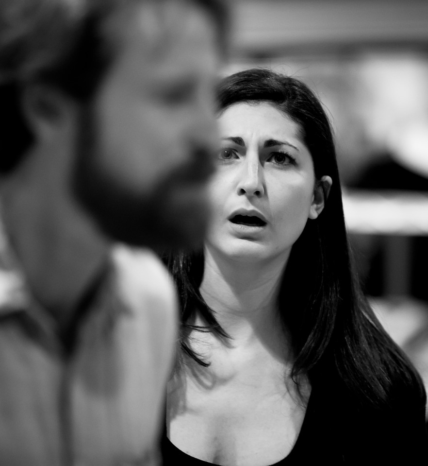 Ally Farzetta (Lady Macbeth) and Calder Shilling (Macbeth) in rehearsal for MACBETH. Photo by Jay McClure.