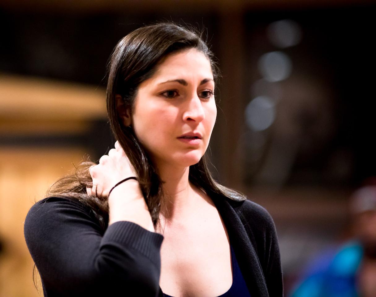 Ally Farzetta (Lady Macbeth) in rehearsal for MACBETH. Photo by Jay McClure.