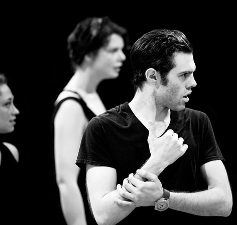 Josh Clark (Banquo); Hilary Caldwell and Annabelle Rollison (Weïrd Sisters) in rehearsal for MACBETH. Photo by Jay McClure.
