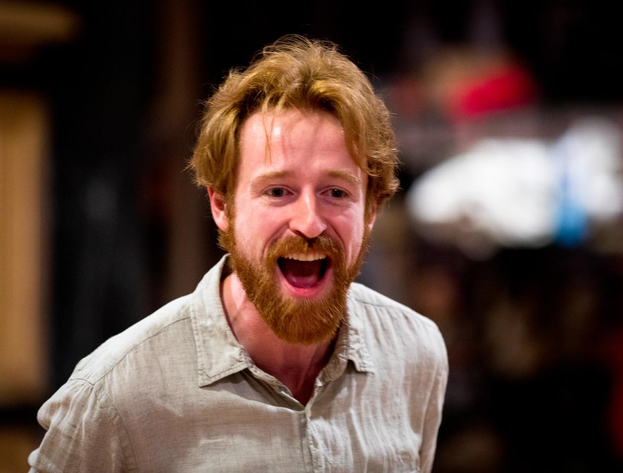 Calder Shilling (Macbeth) in rehearsal for MACBETH. Photo by Jay McClure.
