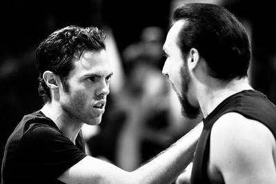 Josh Clark (Banquo) and J.C. Long (Macduff) in rehearsal for MACBETH. Photo by Jay McClure.