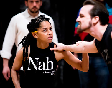 Constance Swain (Malcolm), J.C. Long (Bloody Captain), and Ronald Román-Meléndez (Duncan) in rehearsal for MACBETH. Photo by Jay McClure.