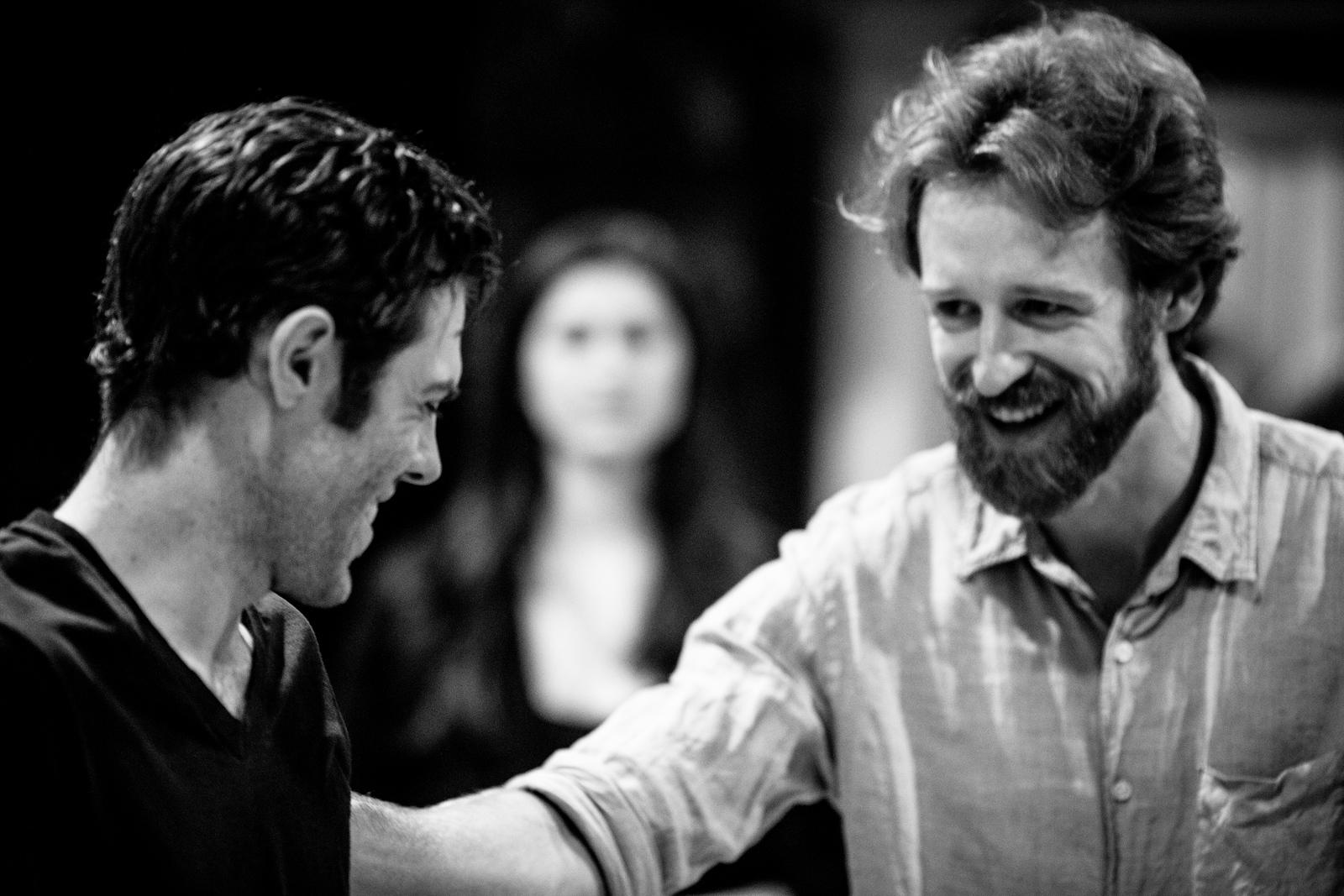 Josh Clark (Banquo), Calder Shilling (Macbeth), and Ally Farzetta (Lady Macbeth)  in rehearsal for MACBETH. Photo by Jay McClure.