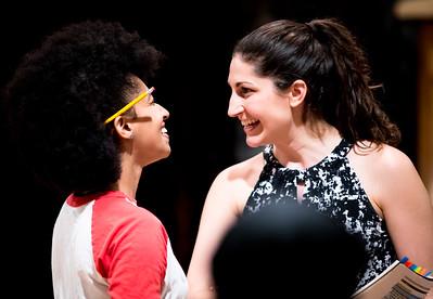 Constance Swain (Marianne Dashwood) and Ally Farzetta (Elinor Dashwood) in rehearsal for SENSE AND SENSIBILITY. Photo by Jay McClure.