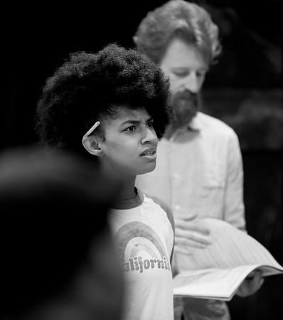 Constance Swain (Marianne Dashwood) and Calder Shilling (Colonel Brandon) in rehearsal for SENSE AND SENSIBILITY. Photo by Jay McClure.