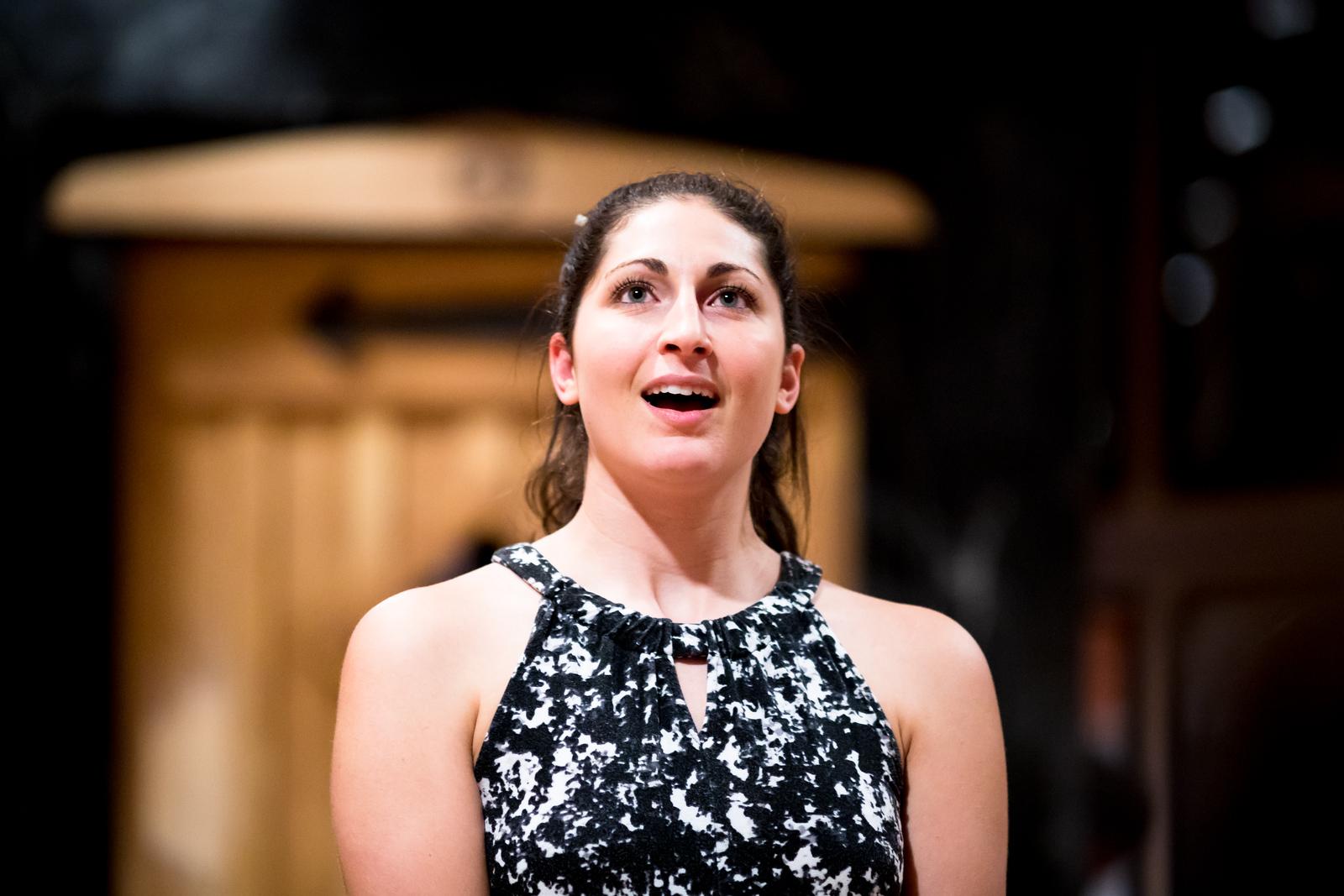 Ally Farzetta (Elinor Dashwood) in rehearsal for SENSE AND SENSIBILITY. Photo by Jay McClure.