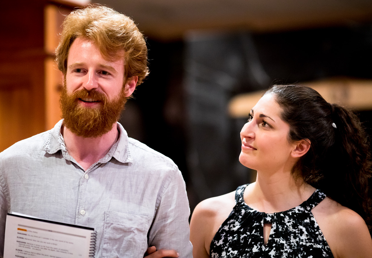 Calder Shilling (Colonel Brandon) and Ally Farzetta (Elinor Dashwood) in rehearsal for SENSE AND SENSIBILITY. Photo by Jay McClure.