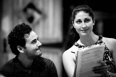 Ronald Román-Meléndez (Edward Ferrars) and Ally Farzetta (Elinor Dashwood) in rehearsal for SENSE AND SENSIBILITY. Photo by Jay McClure.