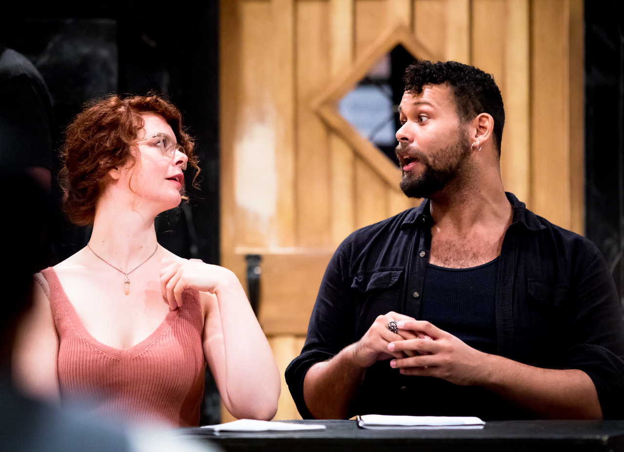 Annabelle Rollison (Mrs Dashwood) and Topher Embrey (Mrs Jennings) in rehearsal for SENSE AND SENSIBILITY. Photo by Jay McClure.