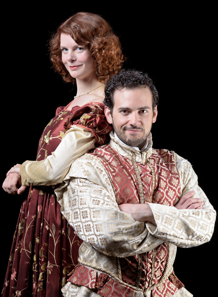 Annabelle Rollison as Kate and Ronald Román-Meléndez as Petruchio in THE TAMING OF THE SHREW. Photo by Michael Bailey.