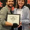 Professor Robert Arbaugh awards Samantha DeVries Outstanding Theatre Major.
