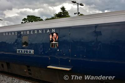 Train Guard Noel Enright gives the customary Royal Wave as he passes Portlaoise. Tues 11.07.17