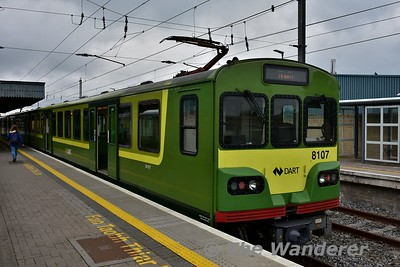 8107 at Howth. Note the rain strip which is being fitted to the 8100's. For some reason it only seems to be fitted to the Driving Motor cars (8100) and not the Driving Trailer cars (8300). Sun 08.10.17
