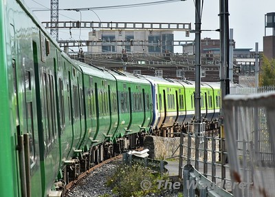 Side profile of 29021 + 29006 stabled in the catch siding at Pearse Station. Sun 15.10.17