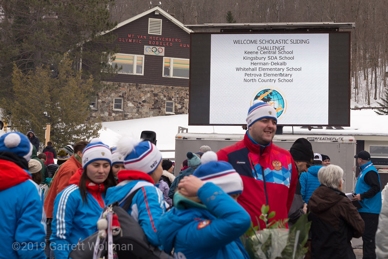 Video monitor, 1932 finish house, and Russian team