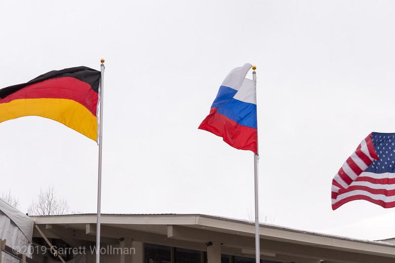 Three medalist flags