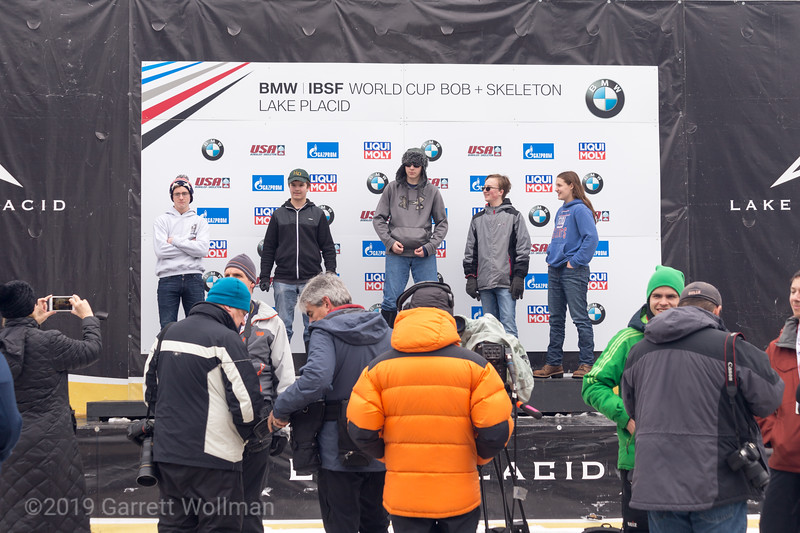 Fans on the medal podium