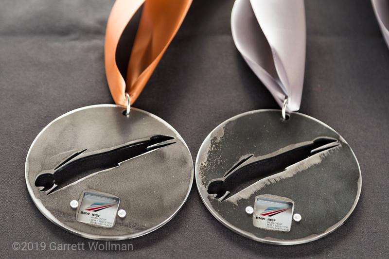 Closeup of the medals