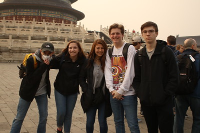 Ethan, Jenna, Grace, Preston, and Daniel enjoy visiting at the Temple of Heaven.
