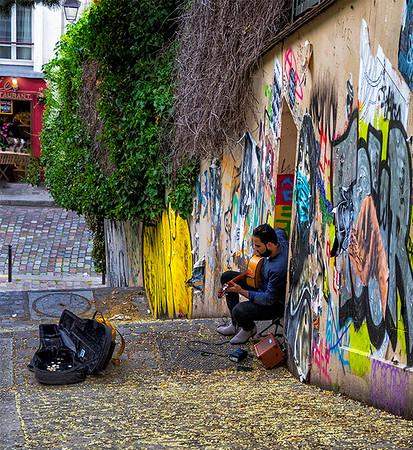 Paris Street Musician - Harvey Augenbraun - PSA Score 8