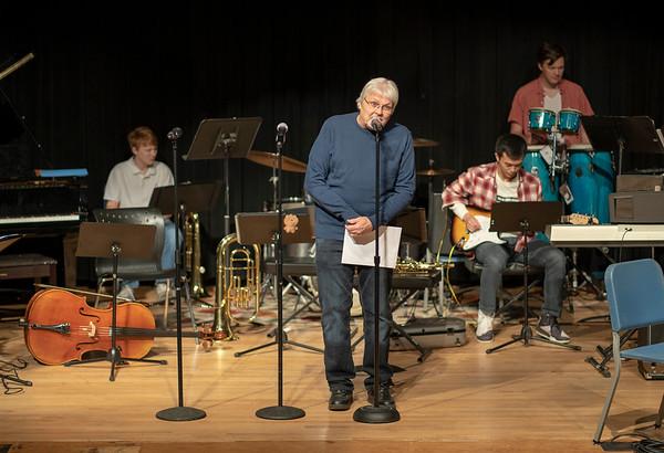Music Teacher Mike Vinson introduces the program.
