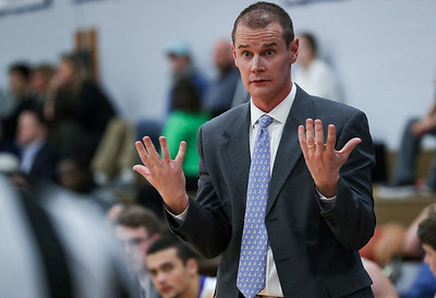 PHOTO/ANDREW SHURTLEFF Blue Ridge School's head coach Cade Lemcke reacts to a call during the game Wednesday night at the Blue Ridge School.