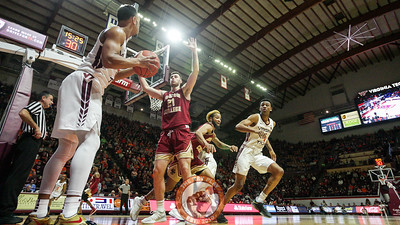 Justin Robinson looks to inbound the ball to Nickeil Alexander-Walker on the BC baseline in the first half. (Mark Umansky/TheKeyPlay.com)