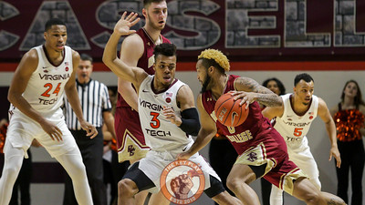 Wabissa Bede guards Boston College's Ky Bowman in the second half. (Mark Umansky/TheKeyPlay.com)