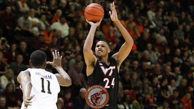 Kerry Blackshear Jr. shoots a three point shot late in the second half as the Hokies start to pull away from Notre Dame. (Mark Umansky/TheKeyPlay.com)