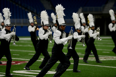 "The Vandegrift High School marching band performs its show, ""Rise"" in the preliminary round of the UIL State Marching Band competition Monday, Nov. 5, 2018."