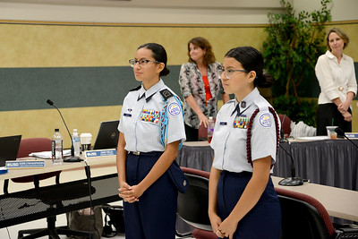 Leading the pledges were two sisters from Leander High School's Air Force JROTC program: senior Victoria Garcia and sophomore Jada Garcia.