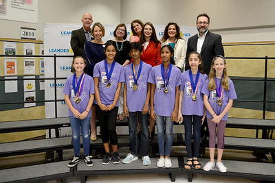 "Canyon Ridge Middle School Team 3, ""Tick Tock Tigers,"" recognized for being one of six LISD teams to qualify for the Global Destination Imagination Competition."