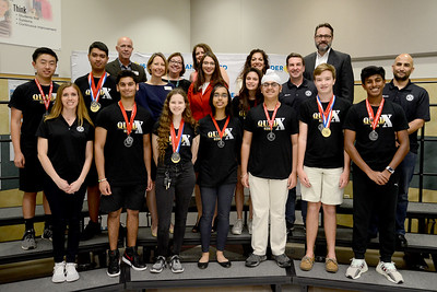 Vandegrift High School's ViperBots QuadX robotics team, recognized for advancing to the FIRST Robotics World competition in the FTC division.