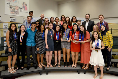 Students from Vista Ridge High School are recognized for their accomplishment at DECA's International Career Development Conference. VRHS had 15 qualifying teams, two of which earned 3rd place on on the ICDC stage. Members of these winning teams pictured include Spenser Young, Sue Han, and Rania Mouhieddine.