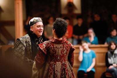 Christopher Seiler as Claudius and Jessika Williams as Gertrude in HAMLET.  Photo by Lindsey Walters.