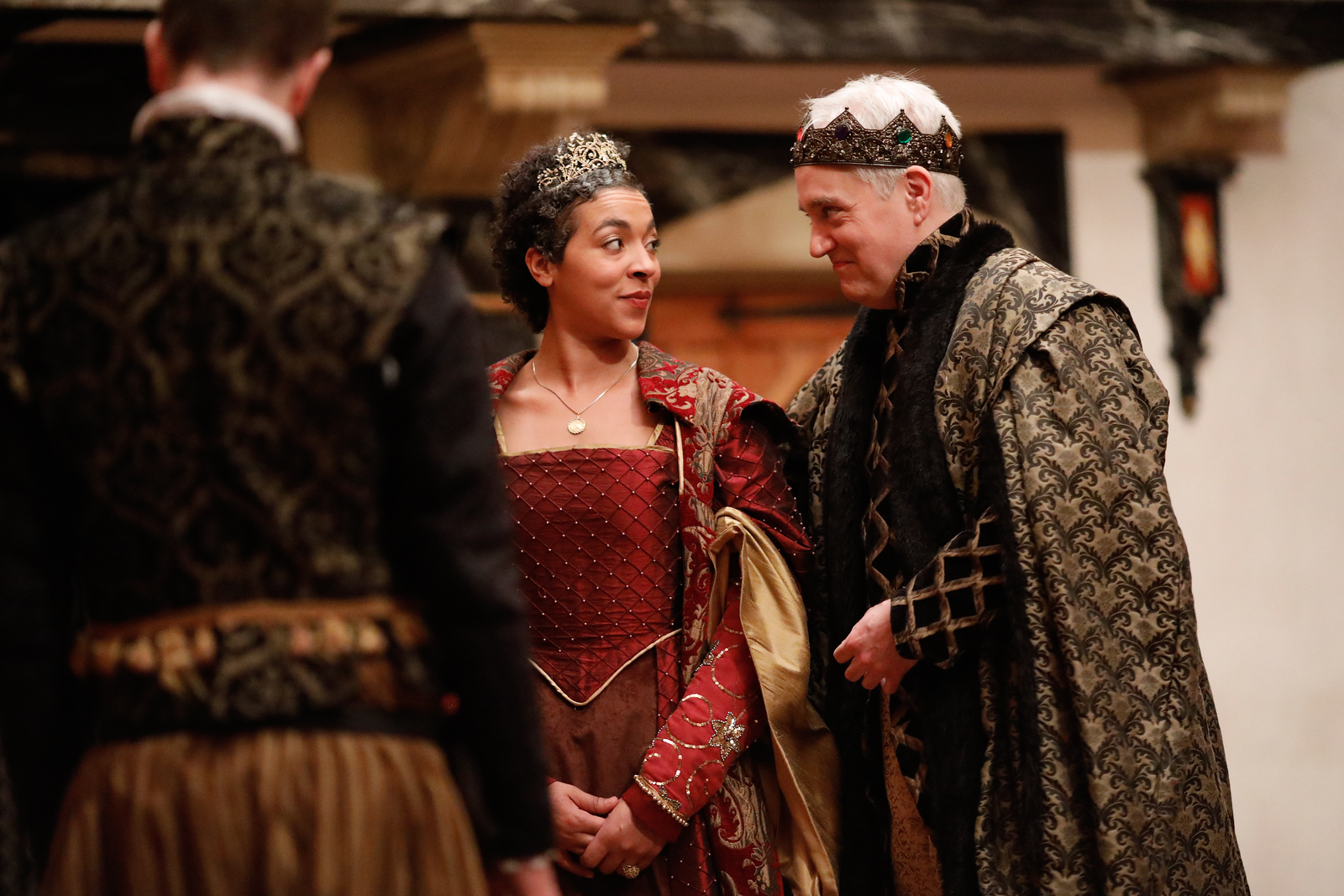 Jessika Williams as Gertrude and Christopher Seiler as Claudius in HAMLET.  Photo by Lindsey Walters.