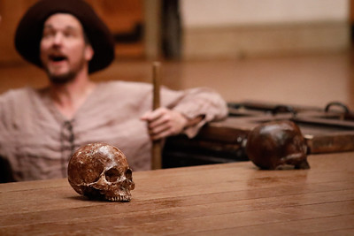 John Harrell as Second Gravedigger in HAMLET.  Photo by Lindsey Walters.