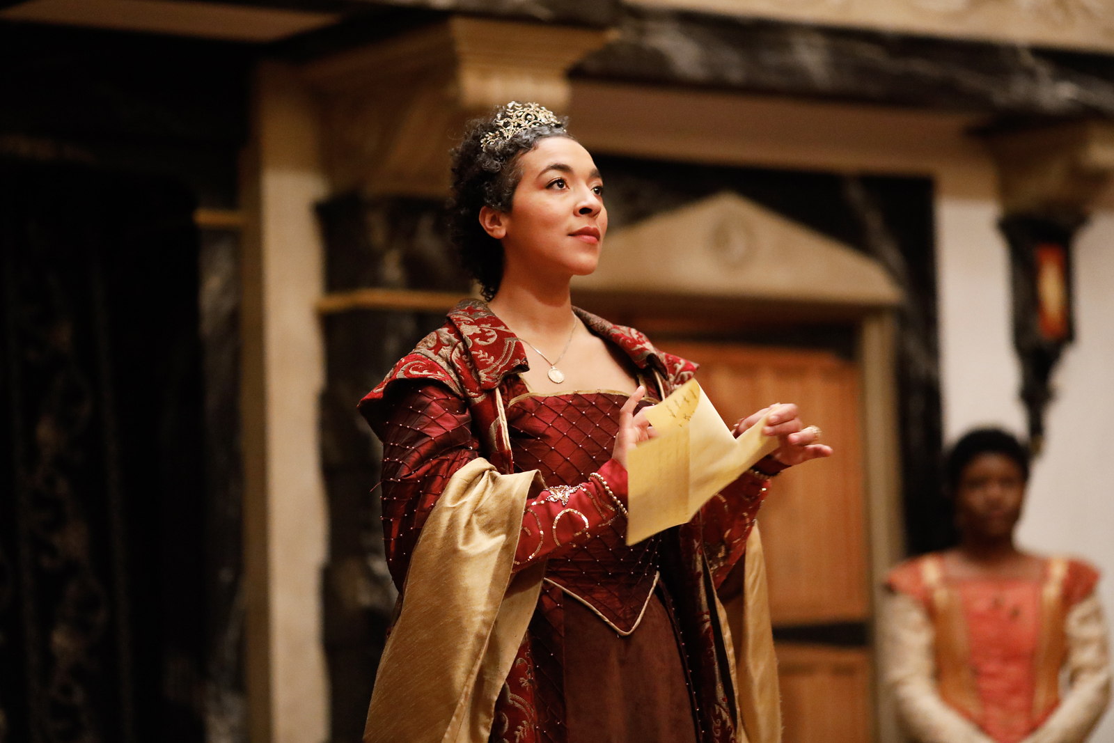 Jessika Williams as Gertrude in HAMLET.  Photo by Lindsey Walters.