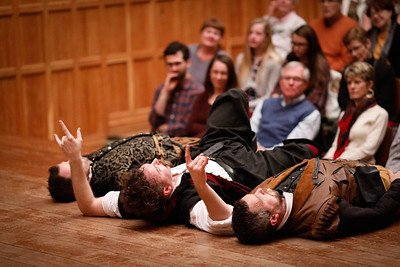 Chris Johnston as Rosencrantz, Josh Innerst as Hamlet, and John Harrell as Guildenstern in HAMLET.  Photo by Lindsey Walters.