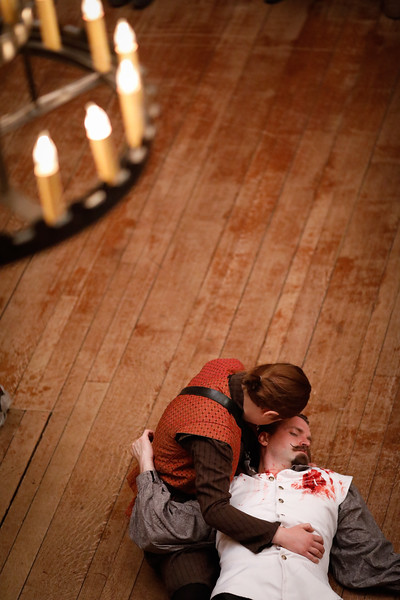 Allie Babich as Horatio and Josh Innerst as Hamlet in HAMLET.  Photo by Lindsey Walters.