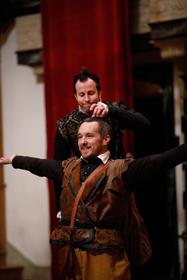 Chris Johnston as Rosencrantz and John Harrell as Guildenstern in ROSENCRANTZ AND GUILDENSTERN ARE DEAD.  Photo by Lindsey Walters.