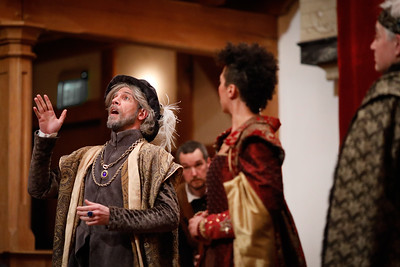 Tim Seiler as Fortinbras, John Harrell as Guildenstern, Jessika Williams as Gertrude, and Christopher Seiler as Claudius in ROSENCRANTZ AND GUILDENSTERN ARE DEAD.  Photo by Lindsey Walters.