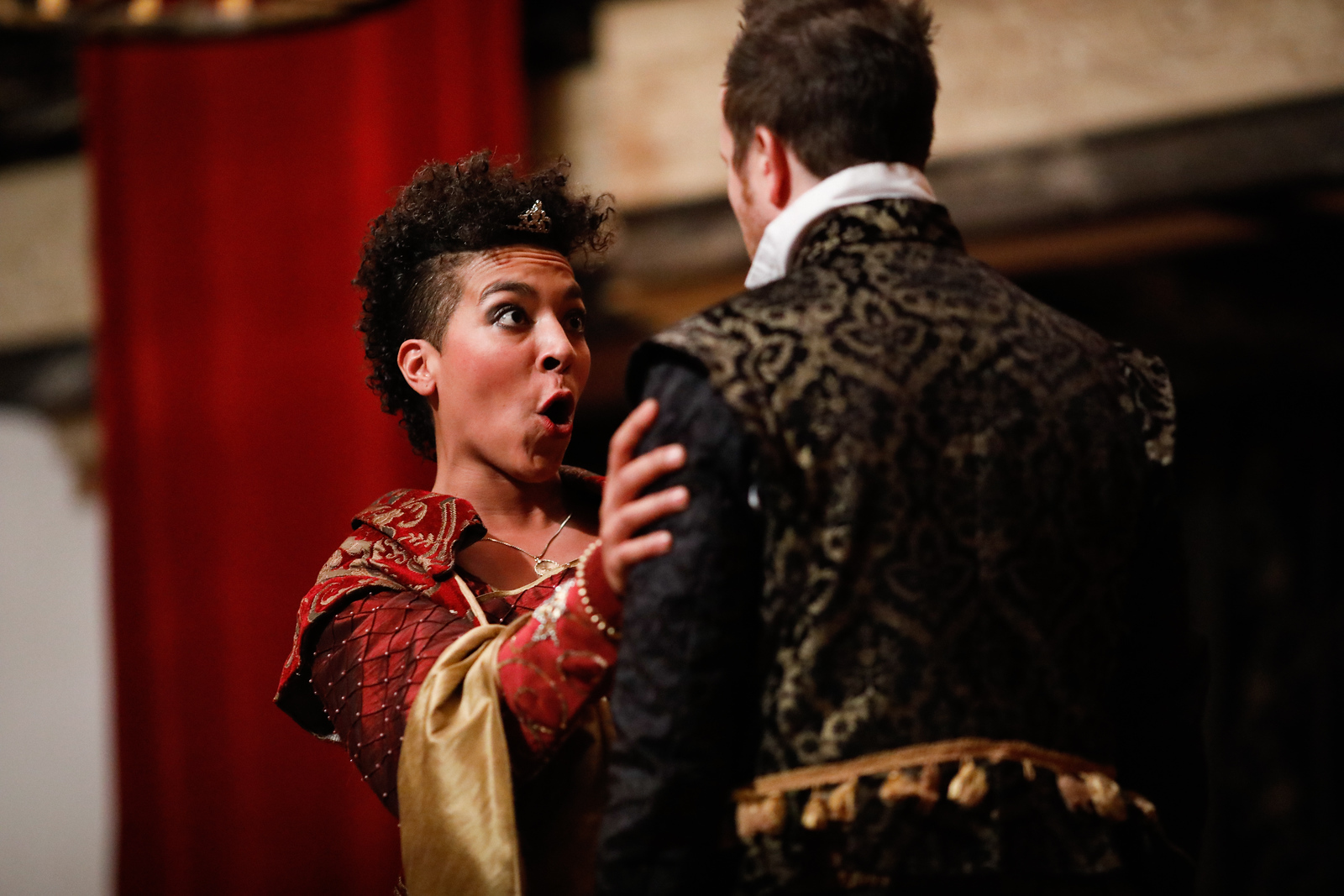 Jessika Williams as Gertrude and Chris Johnston as Rosencrantz in ROSENCRANTZ AND GUILDENSTERN ARE DEAD.  Photo by Lindsey Walters.