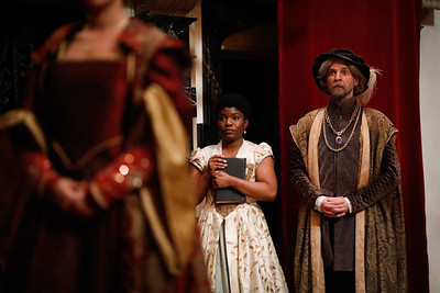 Shunté Lofton as Ophelia and Tim Sailer as Polonius in ROSENCRANTZ AND GUILDENSTERN ARE DEAD.  Photo by Lindsey Walters.