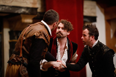 John Harrell as Guildenstern, Josh Innerst as Hamlet, and Chris Johnston as Rosencrantz in ROSENCRANTZ AND GUILDENSTERN ARE DEAD.  Photo by Lindsey Walters.