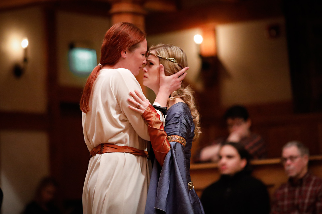 Sarah Fallon as Richard II and Lauren Ballard as Isabel in RICHARD II.  Photo by Lindsey Walters.