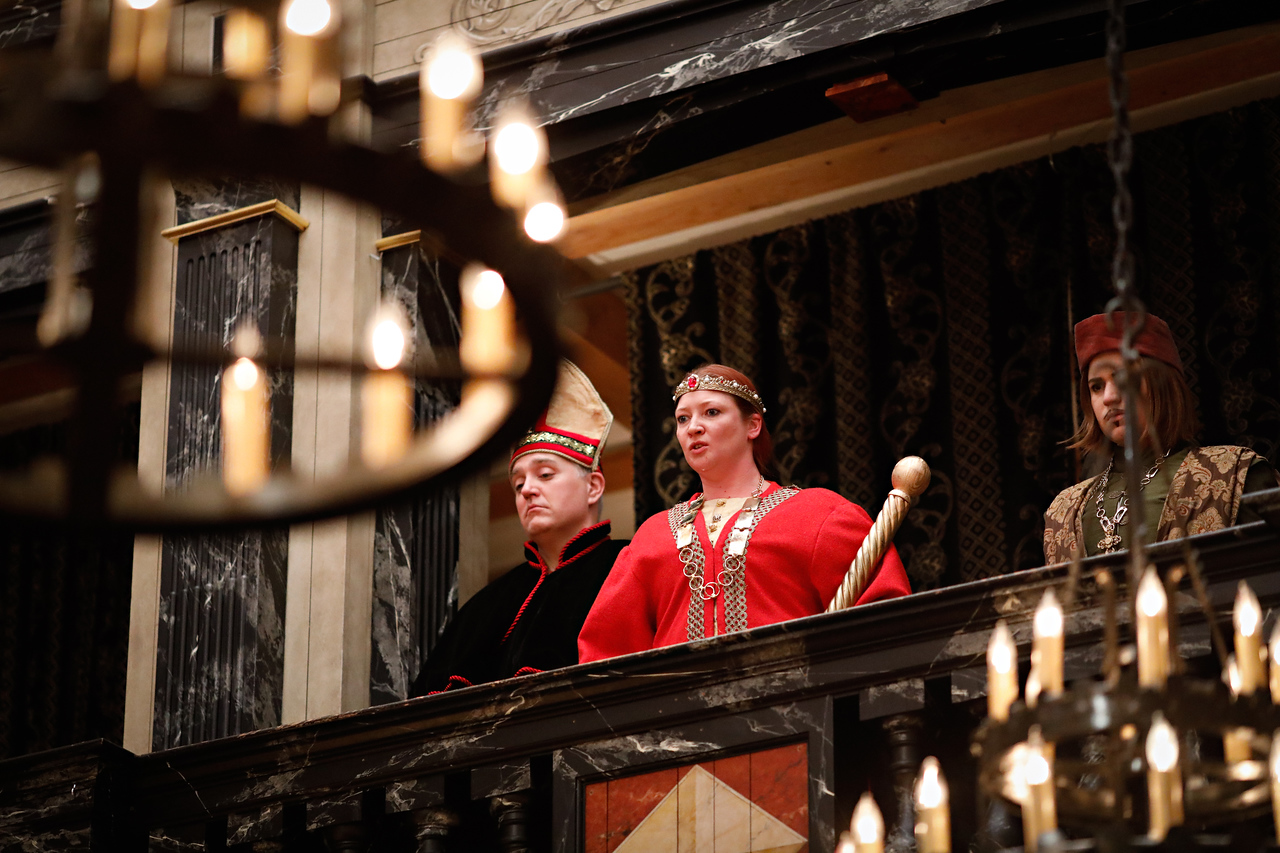 Christopher Seiler as Bishop of Carlisle, Sarah Fallon as Richard II, and Allie Babich as Duke of Aumerle in RICHARD II.  Photo by Lindsey Walters.