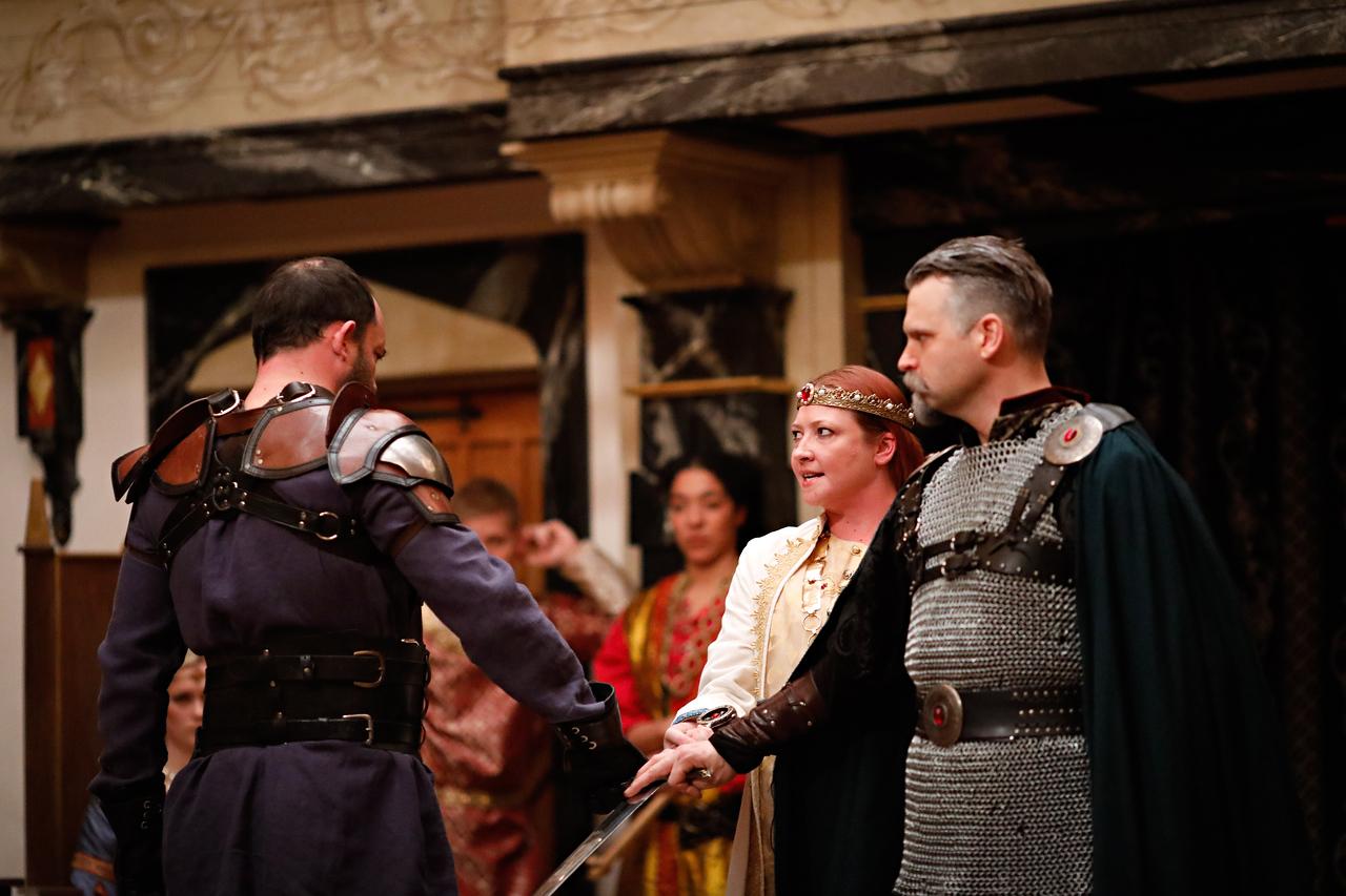 David Anthony Lewis as Bullingbrook, Sarah Fallon as Richard II, and Josh Innerst as Mowbray in RICHARD II.  Photo by Lindsey Walters.