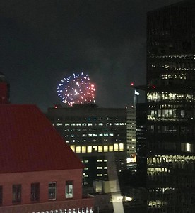 Firework views from the Hilton Portland
