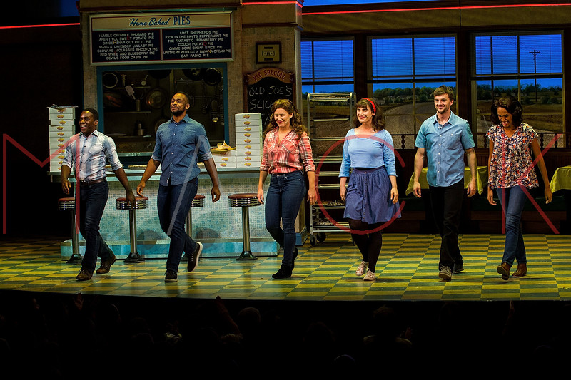 NEW YORK, NY - OCTOBER 05:  Tyrone Davis, Jr., Law Terrell Dunford, Molly Jobe, Katie Lowes, Dan Tracy, Jessie Hooker-Bailey at Al Roker's Broadway Debut Curtain Call in WAITRESS at the Brooks Atkinson Theatre on Friday, October 5, 2018 in New York, NY. (Photo by Steve Mack/S.D. Mack Pictures)